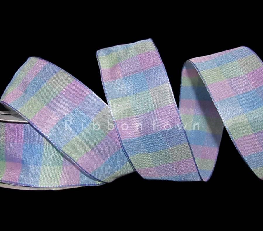 "5 Yards Purple Green Blue Plaid Ribbon 1 1//2/""W"