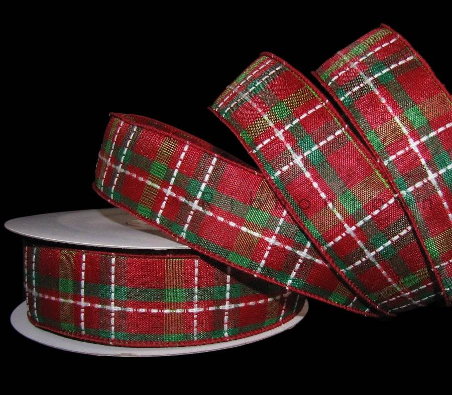 """5 Yards Merry Christmas Red Green Glitter Plaid Burlap Like Wired Ribbon 2 1//2/""""W"""