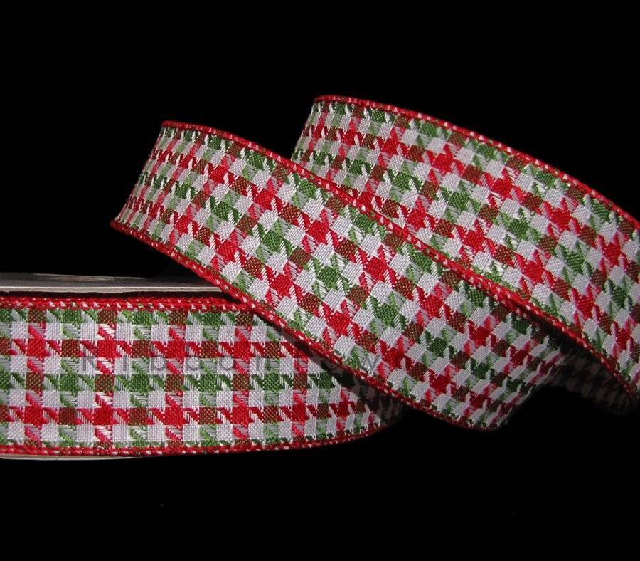 "5 Yd Christmas Red Green Metallic Edge Christmas Plaid Wired Ribbon 2 1//2/""W"
