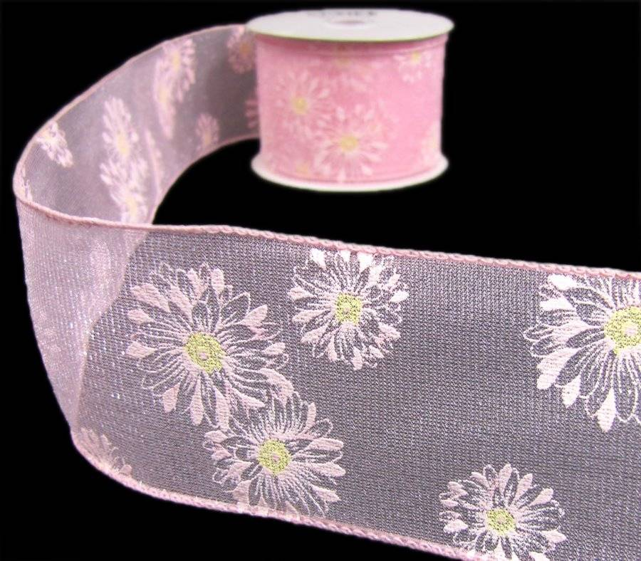 "5 Yards Pink Daisies Daisy Flowers Sheer Wired Ribbon 2 1//2/""W"