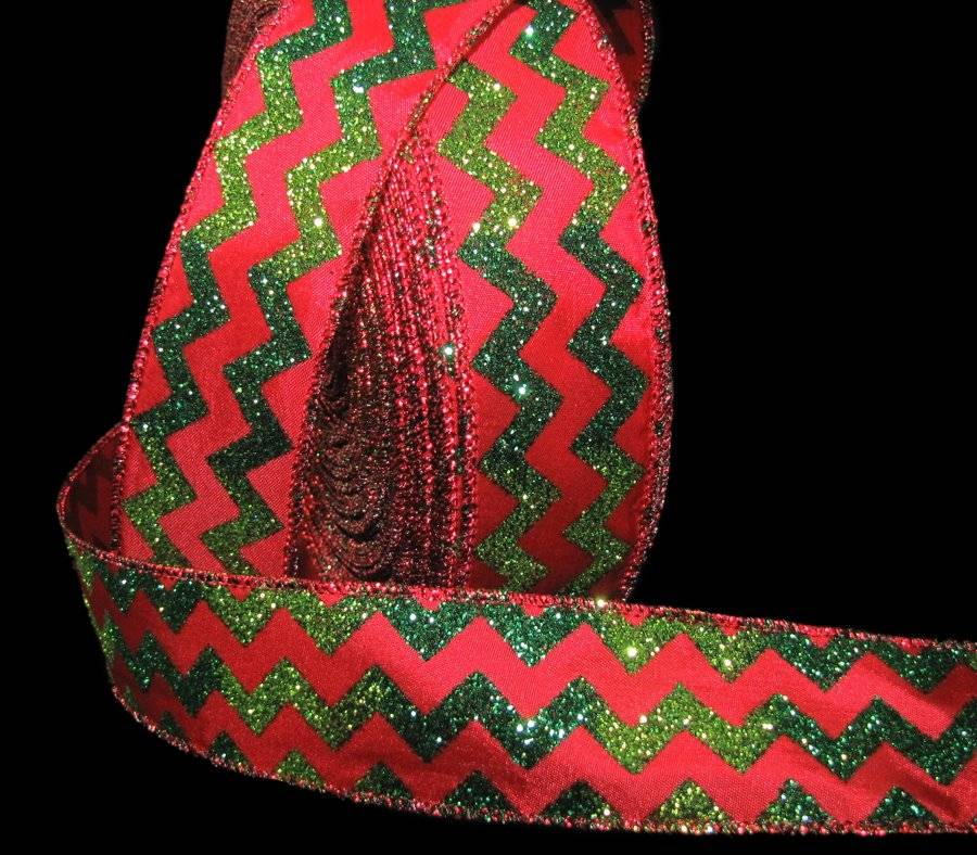 5 yards 2 12 inch wide High Quality Christmas Red and Lime Green Glitter Chevron Wired Edge Ribbon Length is continuous and Seamless!