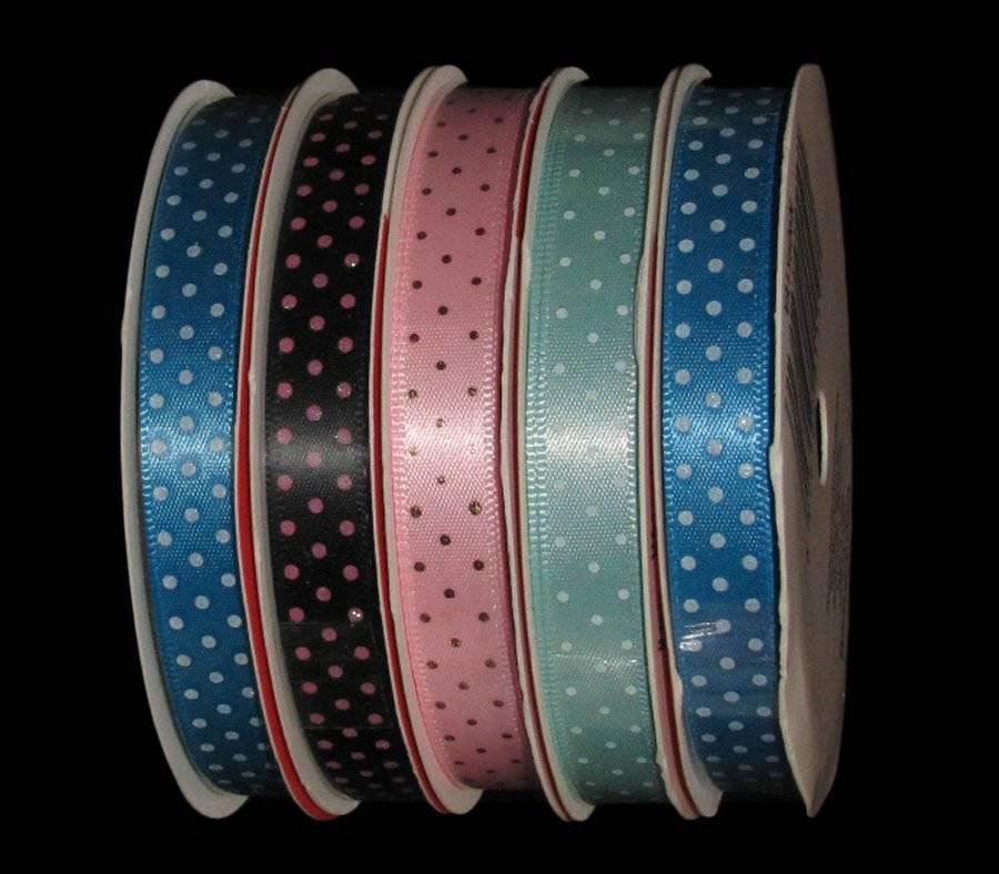"5 Yds Black Neon Pink Green Blue Yellow Polka Dot Satin Ribbon 7//8/""W"