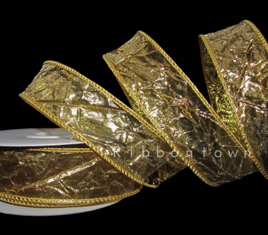 """5 Yards Metallic Gold Crushed Wrinkle Crinkle Christmas Wired Ribbon 1 1//2/""""W"""