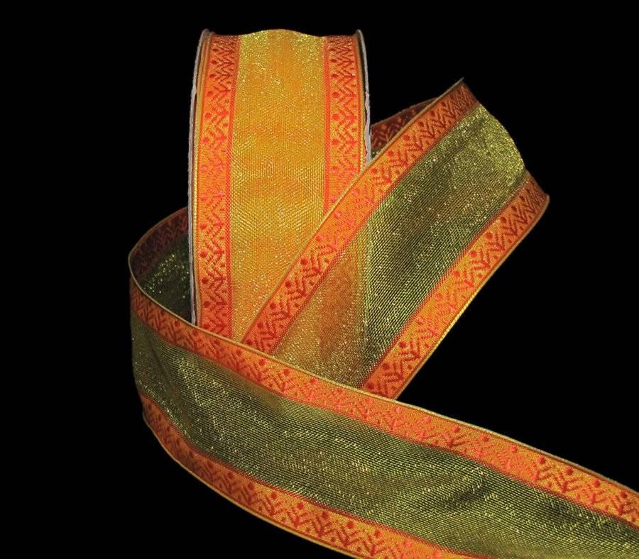 "5 Yds Flawed Orange Modern Gerbera Daisy Yellow Sheer Edge Wired Ribbon 1 1//2/""W"