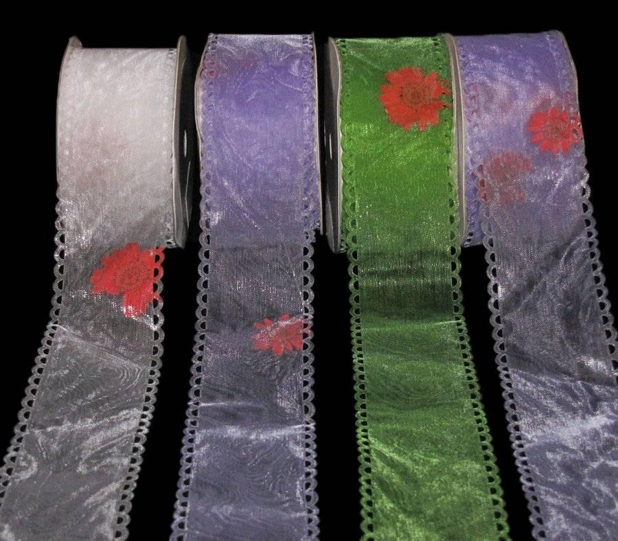 "3-10 Yards Purple Pink Green Tia Maria Flower Sheer Wired Ribbon 2 1//2/""W"