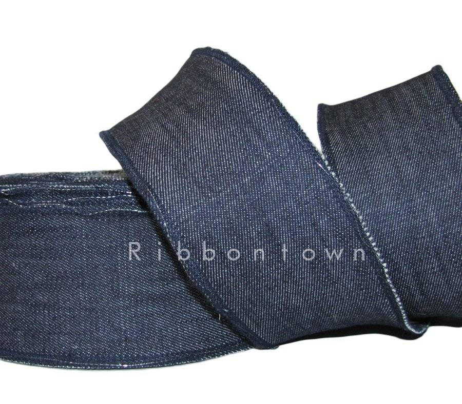 """5 Yards SALE Denim Jeans Red Edge Wired Ribbon 1 1//2/""""W"""