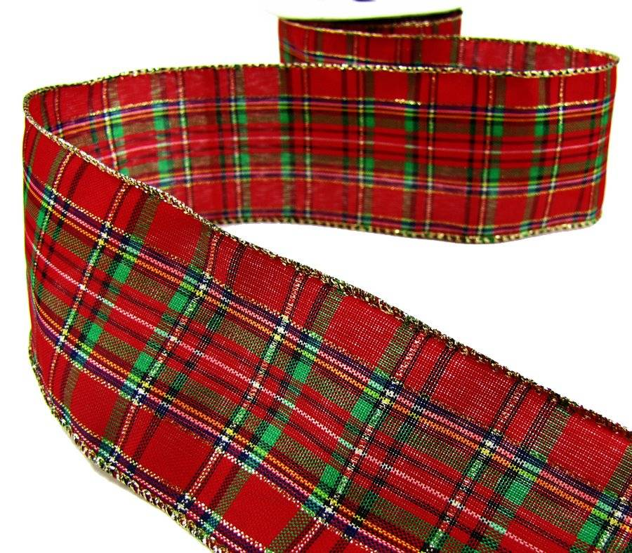 Red Plaid Carolers 18: 5 Yds Christmas DARK Red Green Gold Plaid Wired Ribbon 2 1