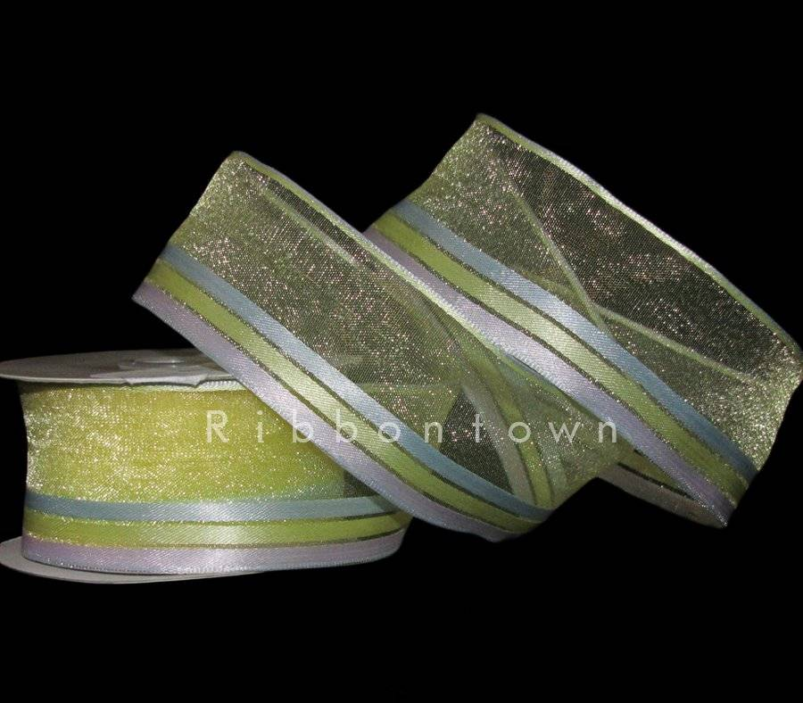 "6 Yards Light Pink Iridescent Stitch Semi Sheer Striped Ribbon 3//4/""W"