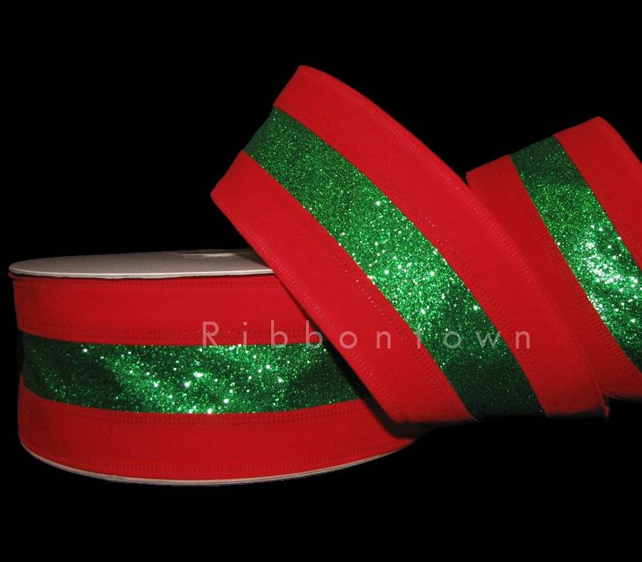 """2 Yds Christmas Elegant Classy Red Green Tinsel Luxury Wired Wide Ribbon 4/""""W"""