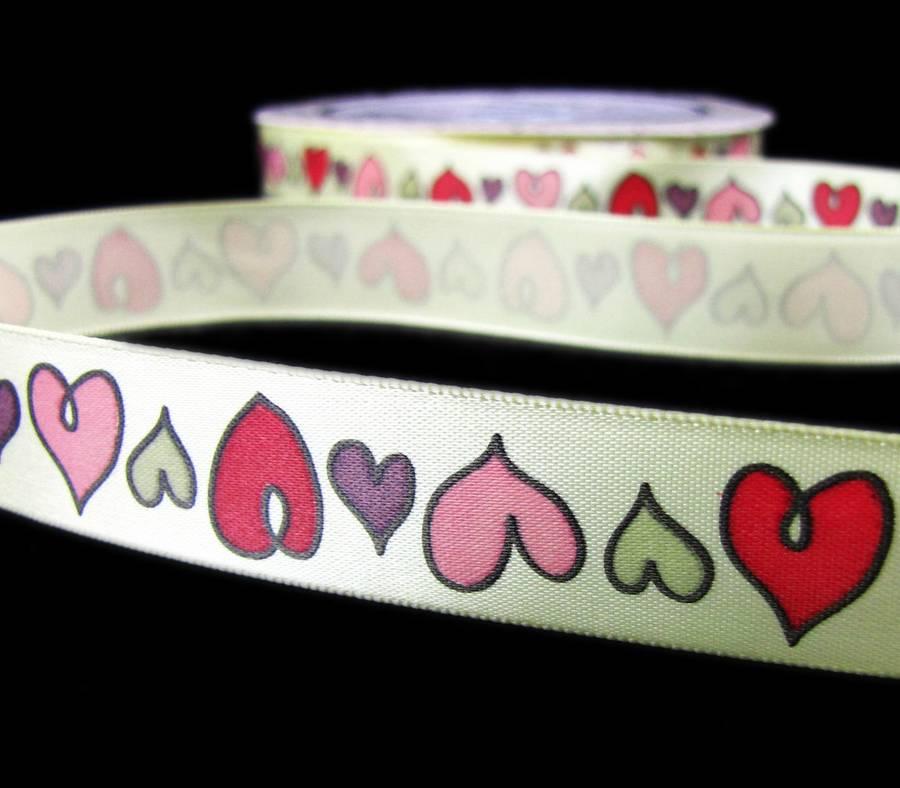 "5 Yards Valentine Fancy Pants Whimsical Hearts Satin Ribbon 3//4/""W"