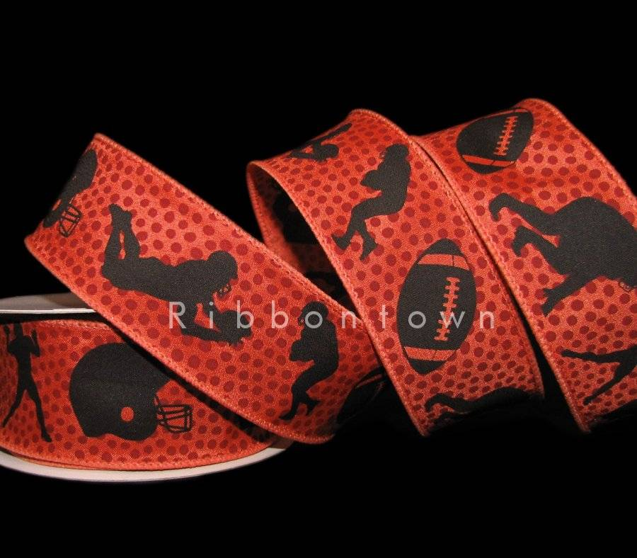 """10 Yards SALE Football Players Helmet Touchdown Wired Ribbon 2 1//2/""""W"""