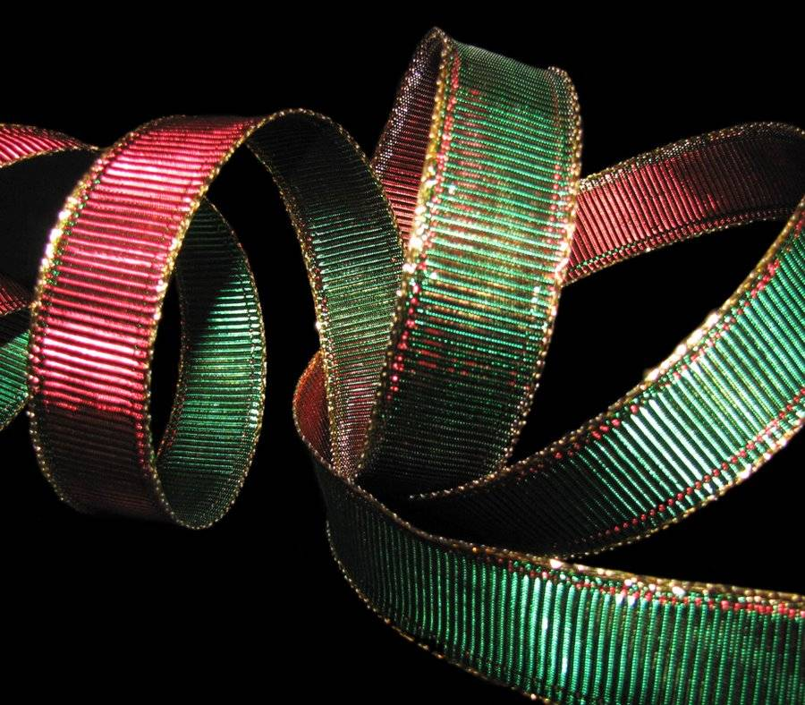 10 Yds Mirage Color Change Christmas Red Green Gold Metallic Ribbed Wired Ribbon