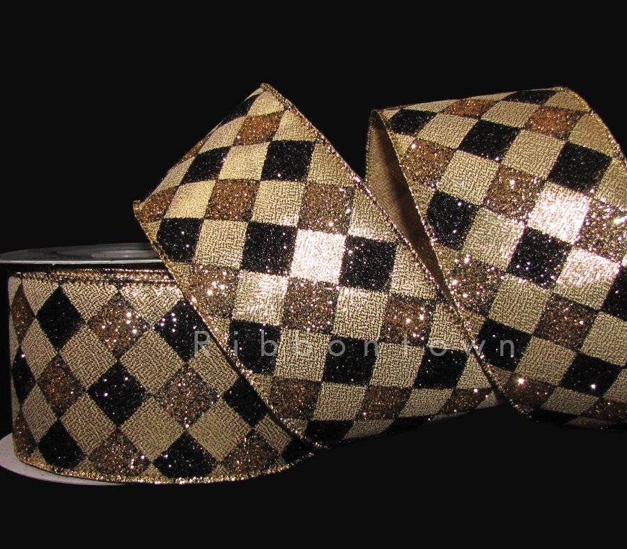 "10 Yards Silver Black Jester Harlequin Diamond Christmas Wired Ribbon 2 1//2/""W"