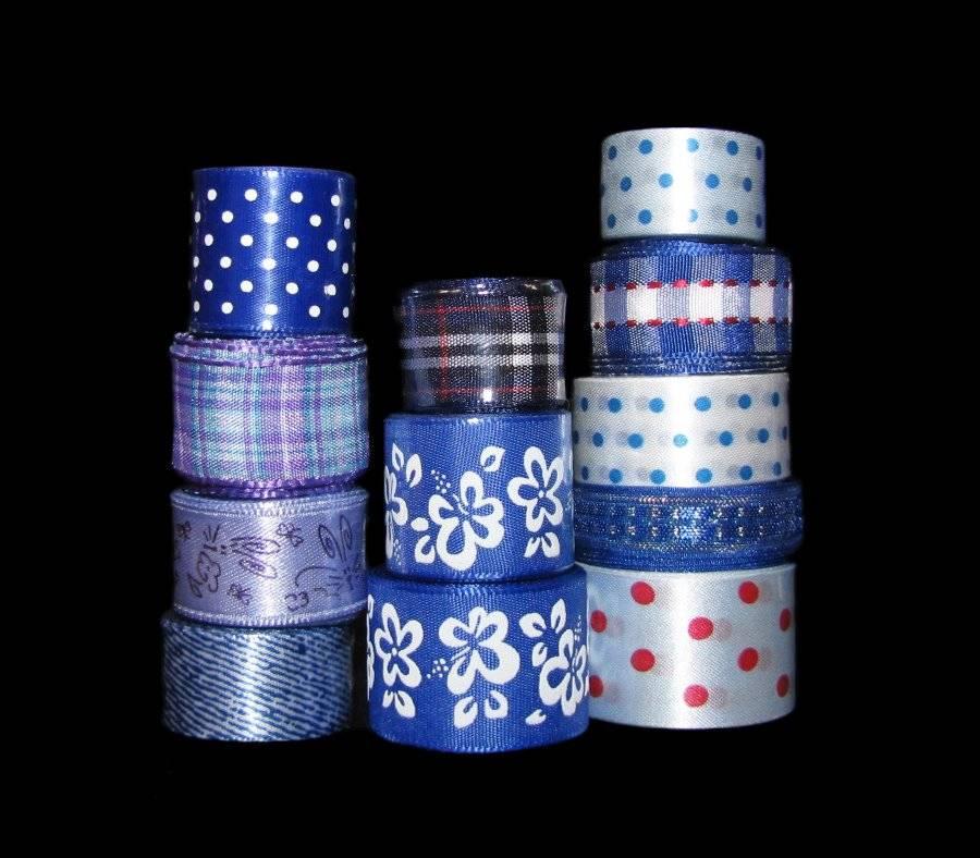 14 yards Assorted Grosgrain Satin Polka Dots Print Ribbon Mix Lot//Craft R-Black