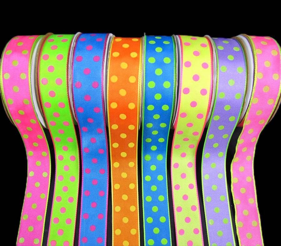 "5 Yards Colorful Bubblegum Polka Dot Polkadot Grosgrain Ribbon 7//8/""W"