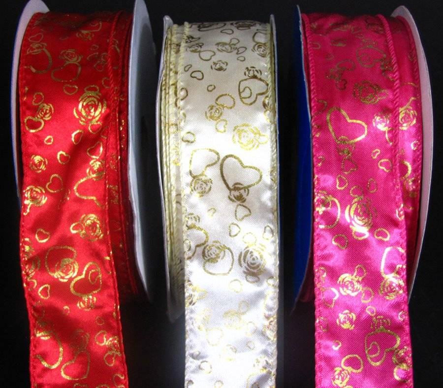 "5 Yds Love Valentine White Satin Ribbon 1 1//2/""W"