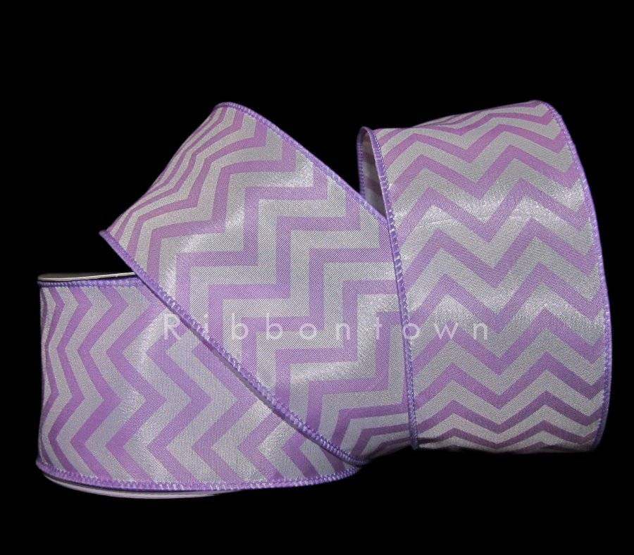 "25 Feet Lavender Pastel Purple White Chevron Zig Zag Wired Ribbon 2 1//2/""W"