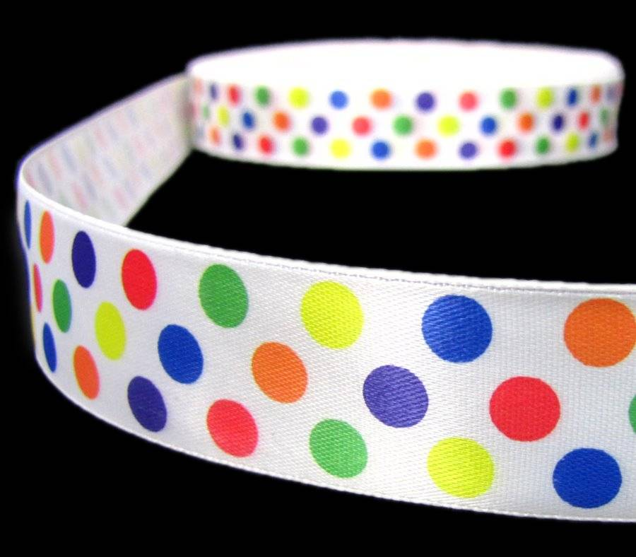 "5 Yds Primary Color Polka Dot Red Blue Green Yellow Orange Satin Ribbon 5//8/""W"