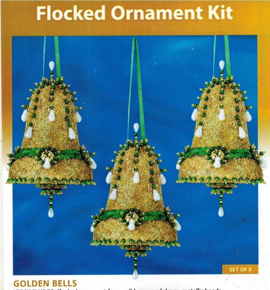 Holiday Time Christmas Ornament Kit Golden Bells Gold Sequins New Unopened