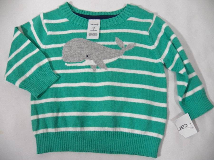 Carters Baby Boys Striped Whale Hooded Romper 12 Months Orange//Blue