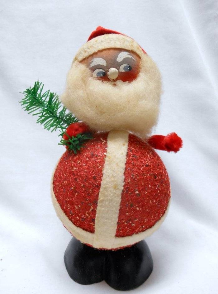 Western Germany Candy Container Paper Mache Christmas Decoration Santa Bobble head VINTAGE by Plantdreaming