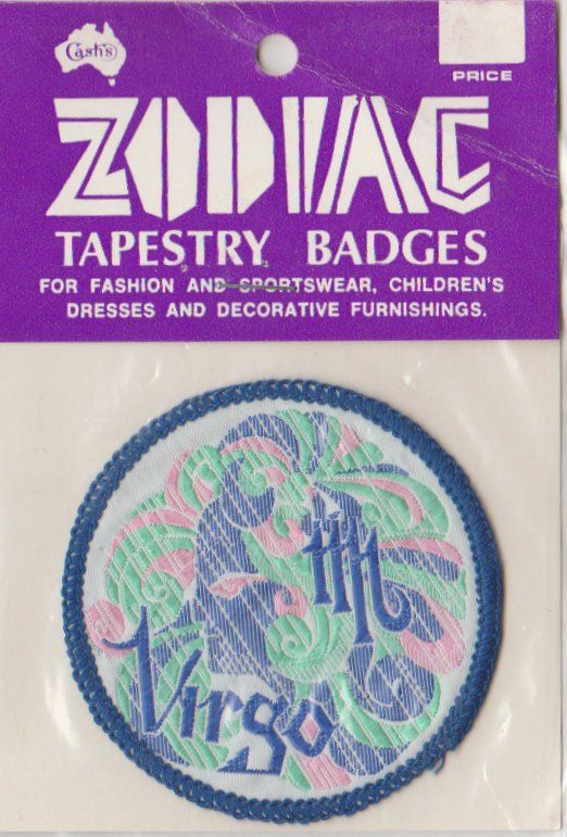 Patch Decorate patch  sew on or hook backing attachment  patch size 5 cm Zodiac Virgo patch D.I.Y