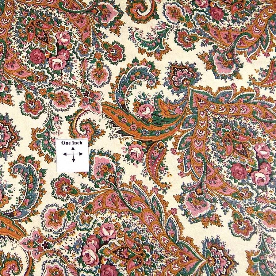 Gold Aqua & Pink Mixed Paisley On Ivory Cotton Fabric, BTY