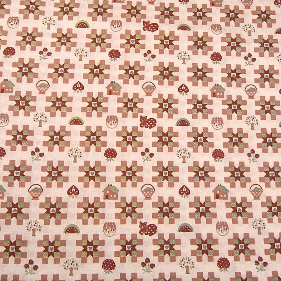 Vintage cotton fabric americana print fawn green - Carrelage geometrique ...