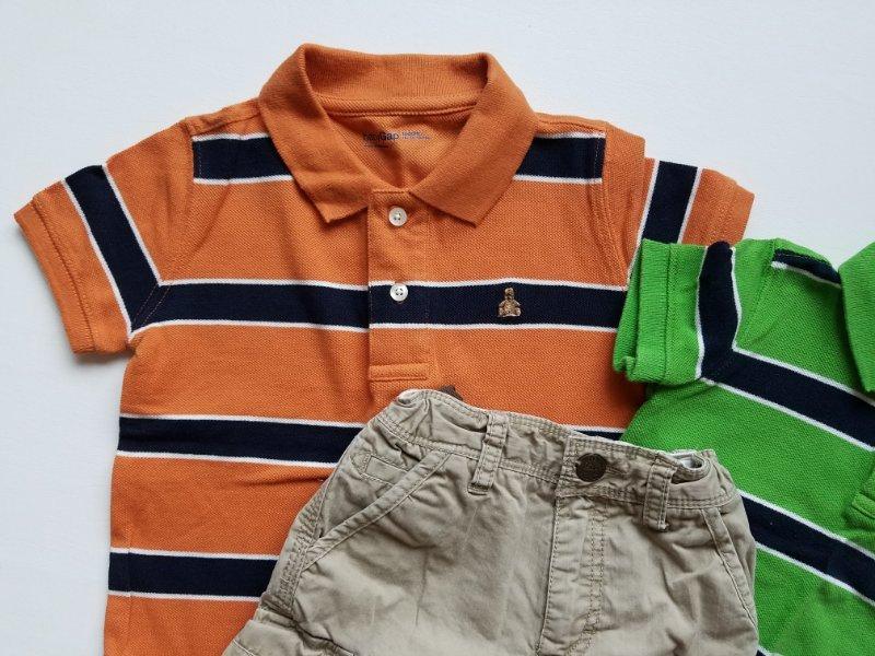 Nautica Boy Size 12 18 24 Months Outfit Set Orange Polo Shirt Khaki Tan Shorts