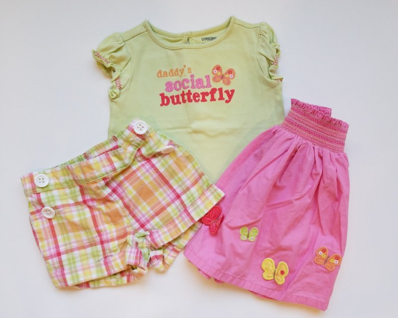 New NWT Gymboree girls butterfly lot set outfit skirt top shorts 12//18 18//24 2T