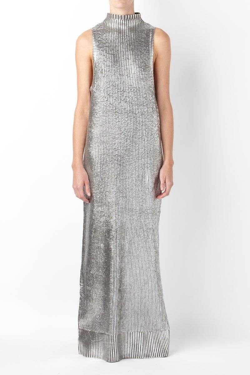 Sass Bide Pop Rocks Knitted Metallic Maxi Dress Silver Size Small Ebay