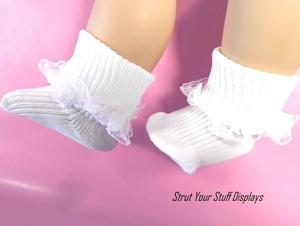 """1 pr WHITE ANKLE SOCKS w//LACE Size 03 Fits 15/"""" 16/"""" tall doll BABY BITTY T.LEE"""