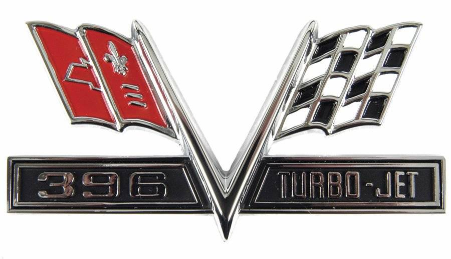 Details about 1965-1967 396 Turbo-Jet Front Fender Emblem, Correct  Reproduction