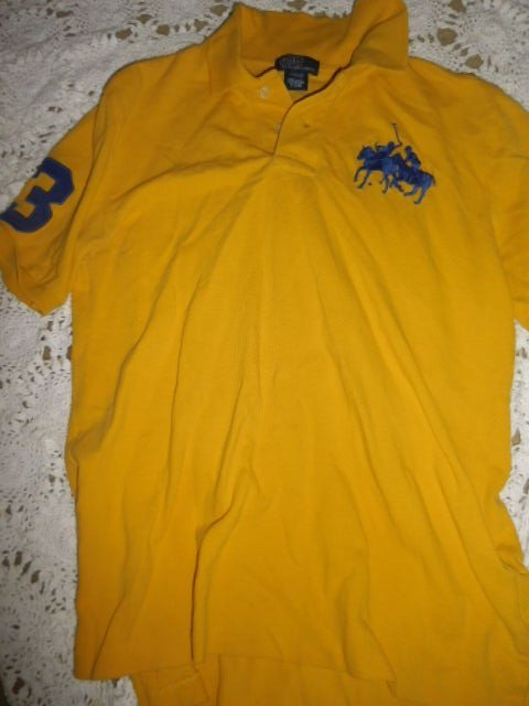 NWT Polo Ralph Lauren Boys Sz XL Dual Big Pony T Shirt Navy yellow logo