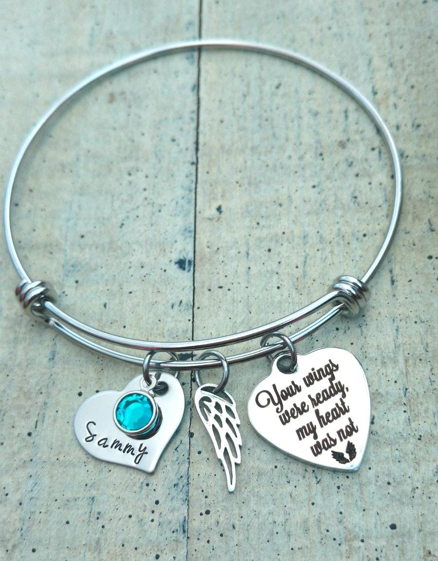 Memorial Name Birthstone Wire Bracelet Personalized Angel Wing Son ...