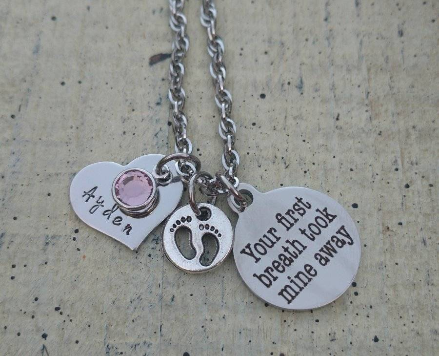 Mother Necklace daughter son Baby Child\'s Name Birthstone ...