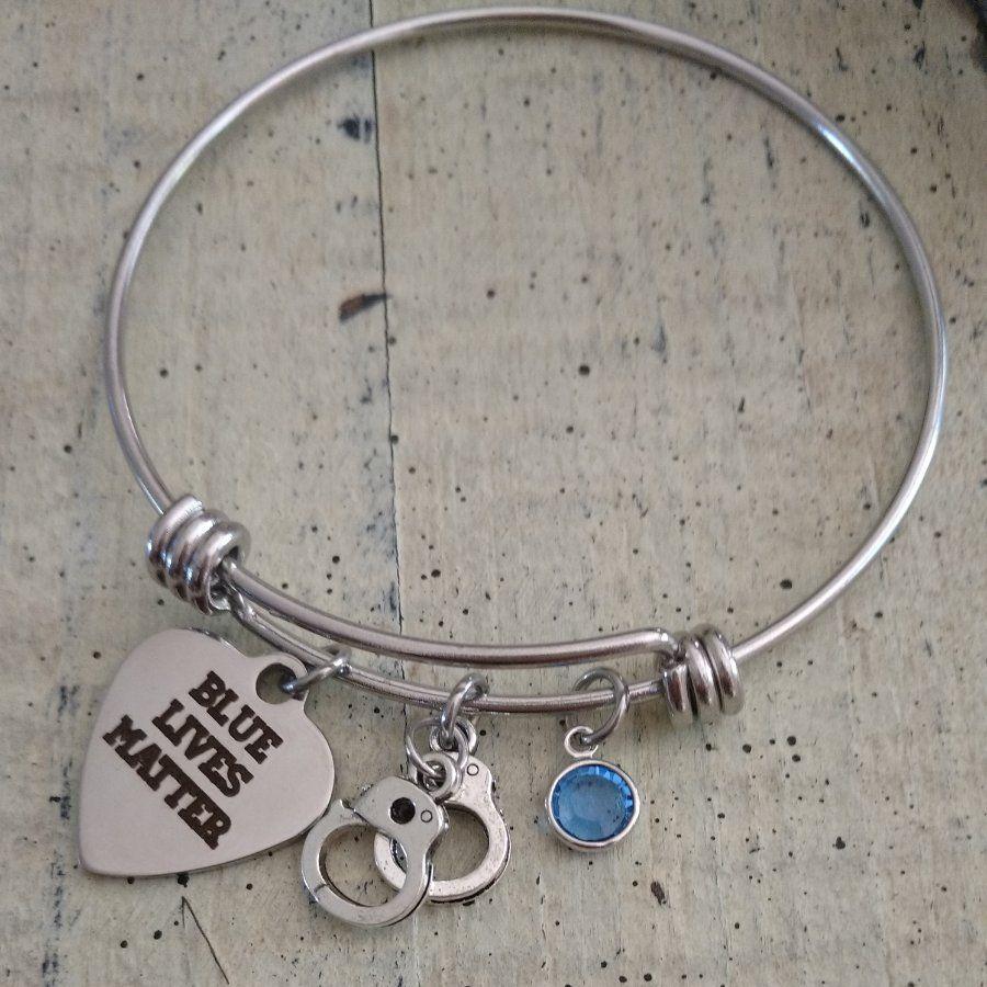 Charm Bracelet Thin Blue Line Officer