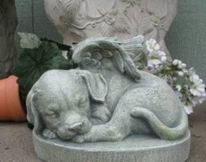 Puppy Dog Angel Garden Statue Pet Memorial Durable Resin