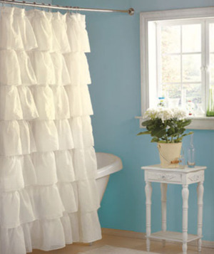French Country Style TIER RUFFLE SHOWER CURTAIN Fabric Compliments Your Shabby Bath