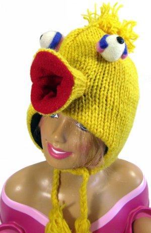22450248 Details about Beanie Hat Big Bird Childs Baby Sesame Street 100% Wool Knit  Polyfleece Lined