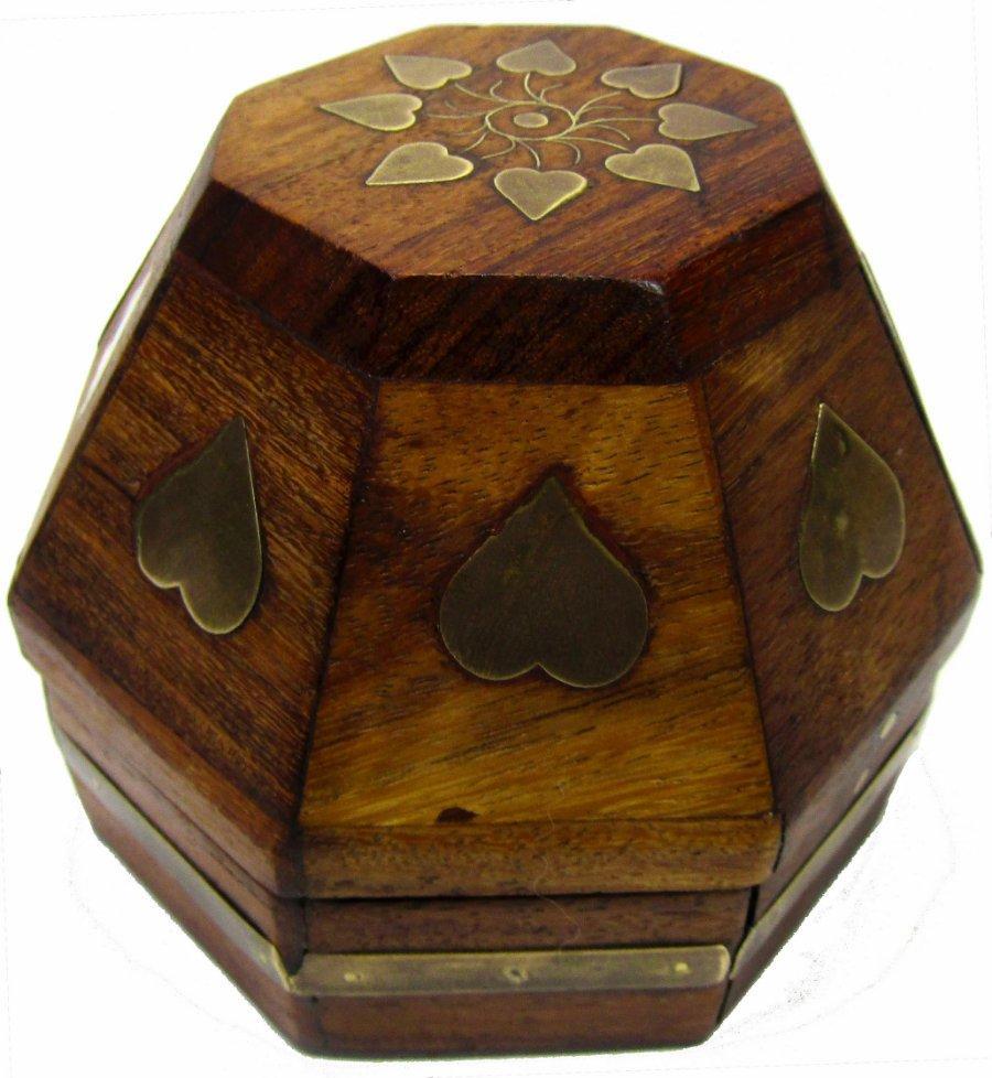 Jewelry Box Container Brass Hearts Sheesham Wood Polygon 8 Side 3 X 4 X 4 Ebay