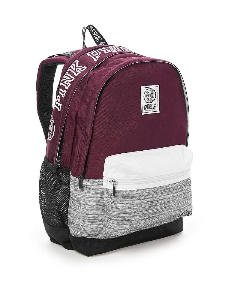 pink and grey victoria secret backpack