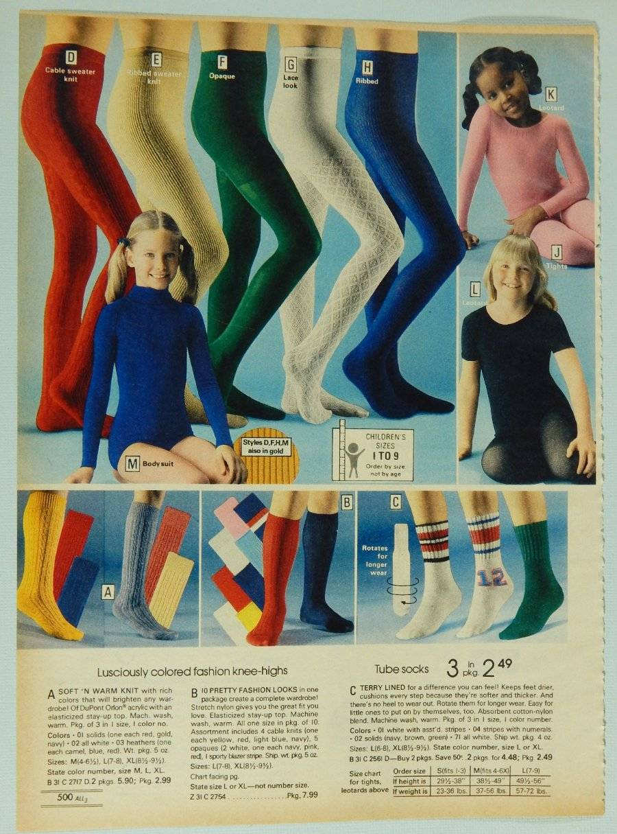 Girls' Tights Leotards Socks - Vintage 1978 Montgomery ...