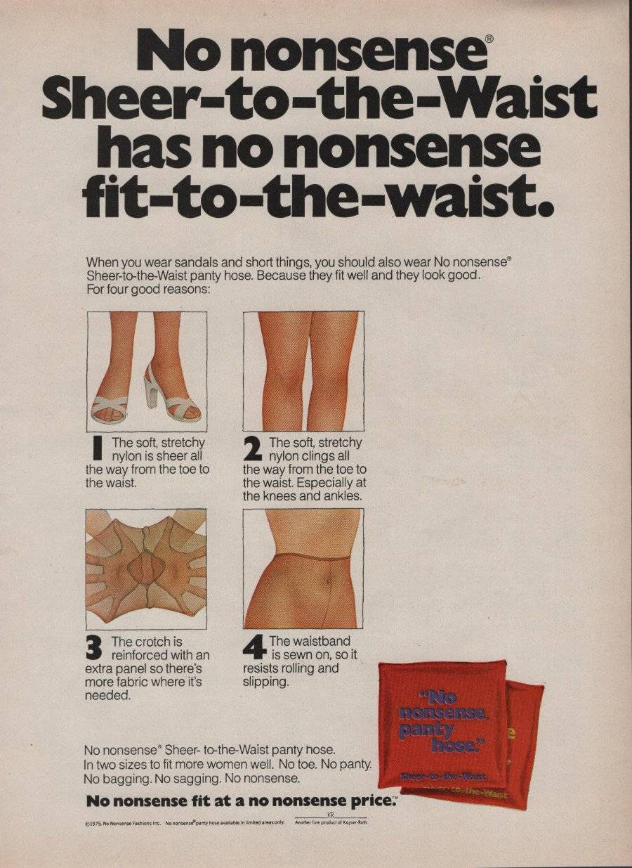 1975 No Nonsense Pantyhose Vintage Magazine Ad Page Sheer Fit to the Waist