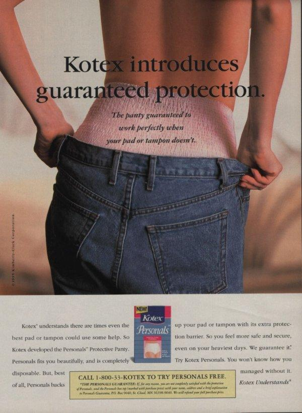 1992 Kotex Maxi Pads Magazine Ad Page Pretty Girl in Jeans Putting on Lipstick