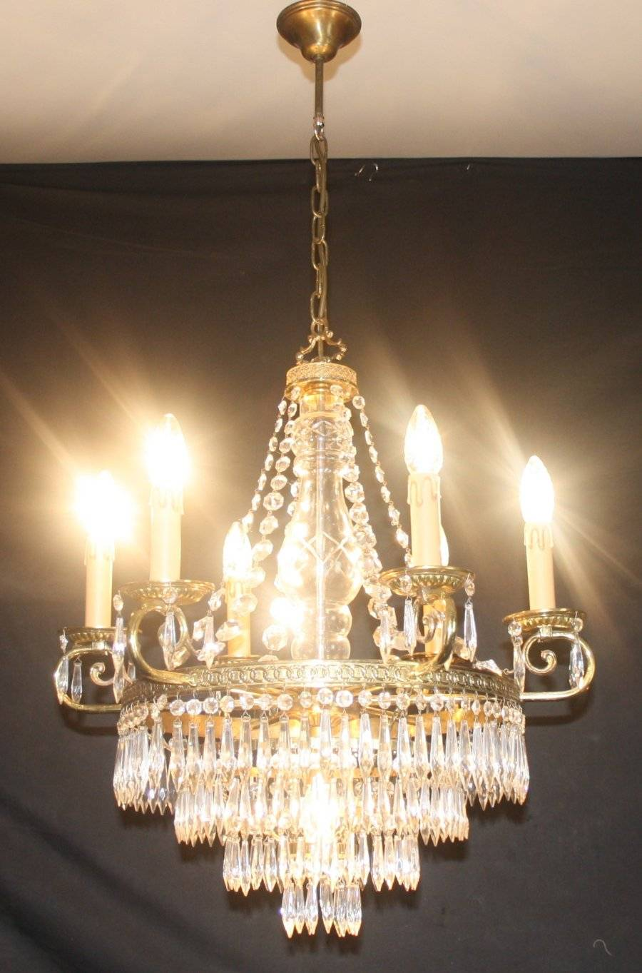 Vintage Empire Chandelier French Glass Tent Waterfall Ceiling