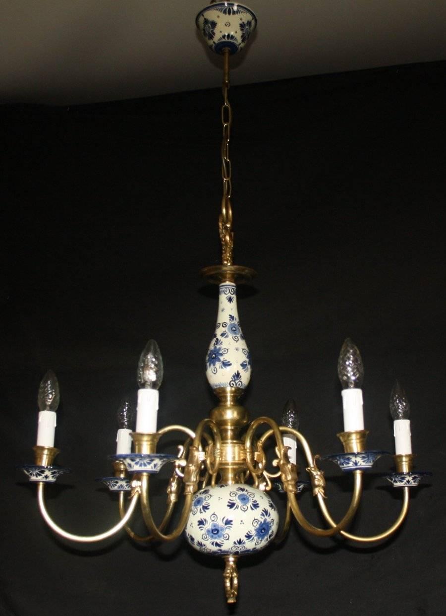 Vintage flemish delft chandelier blue white 6 arm ceiling light vintage delft chandelier 6 arm ceiling light with blue white ceramic parts and brass arms with fish features arubaitofo Images