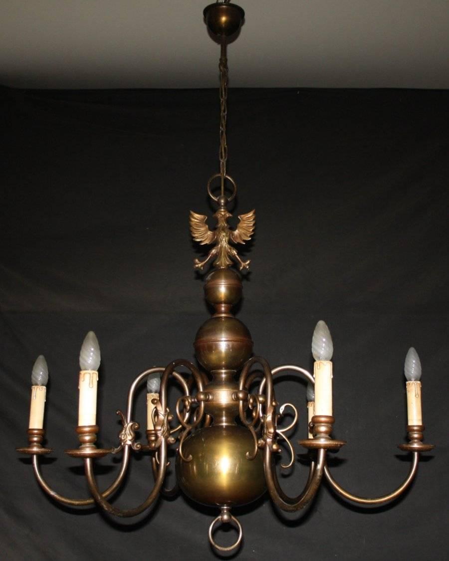 Large Vintage 6 Arm Flemish Chandelier Gothic Ceiling Light Ref Anv28