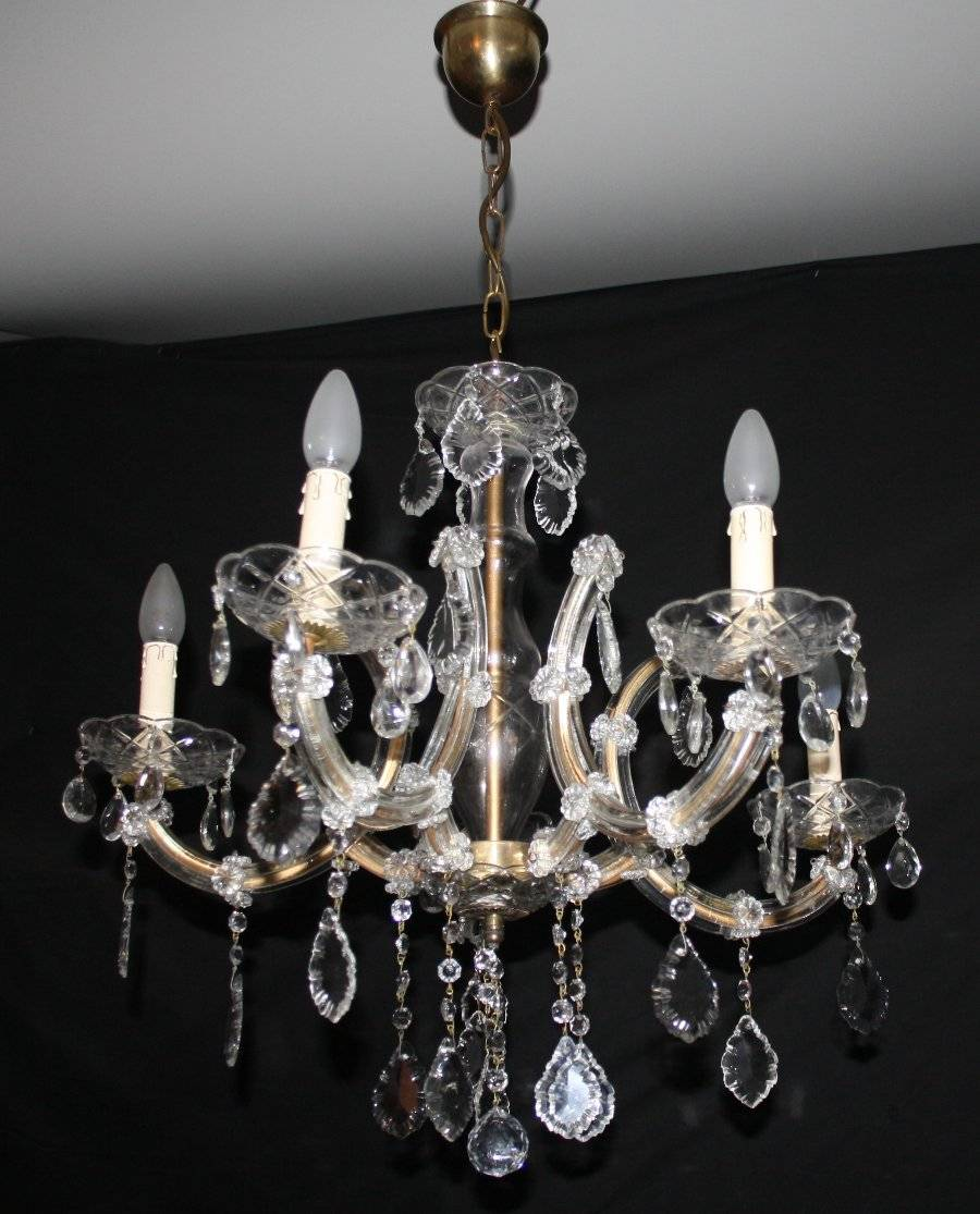 Vintage marie therese chandelier french glass clad ceiling light vintage marie therese chandelier 5 arm maria theresa ceiling light with glass clad arms glass central body glass cups and drops arubaitofo Choice Image