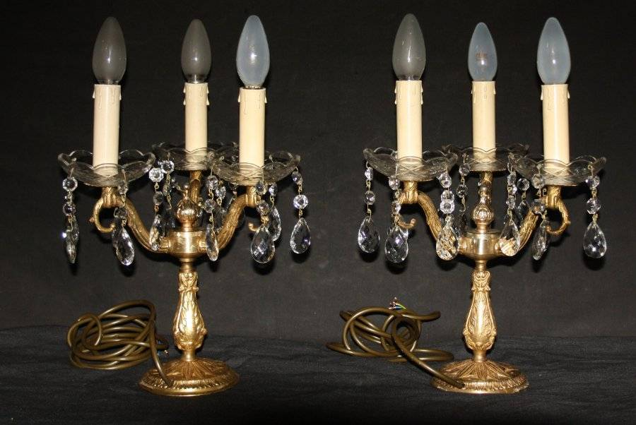 Vintage Pair Electrified French Brass Candlesticks Candelabra Table Lamps Ref Ajn24